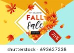 autumn sale flyer template with ... | Shutterstock .eps vector #693627238