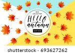 autumn sale flyer template with ... | Shutterstock .eps vector #693627262