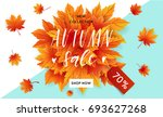 autumn sale flyer template with ... | Shutterstock .eps vector #693627268