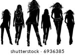a lot of walking long hair... | Shutterstock .eps vector #6936385