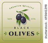 colorful black olives packaging.... | Shutterstock .eps vector #693641398