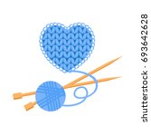 blue wool knitted heart with a... | Shutterstock .eps vector #693642628