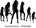 black silhouettes of beautiful... | Shutterstock .eps vector #6936460