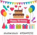 birthday elements flat vector  | Shutterstock .eps vector #693649252