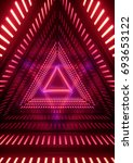 Stock photo  d render neon lights triangle tunnel abstract geometric background 693653122