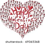beautiful hearts with valentine'... | Shutterstock .eps vector #69365368