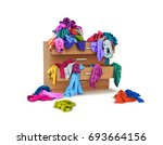 chest of drawers with clothes... | Shutterstock . vector #693664156