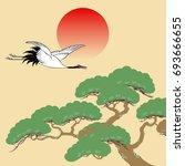 Japanese Crane And Pine Tree...