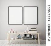 mock up poster frames in... | Shutterstock . vector #693670378