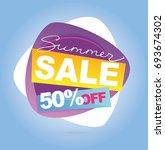 summer sale banner. vector... | Shutterstock .eps vector #693674302