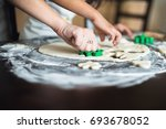mother and daughter cooking at... | Shutterstock . vector #693678052