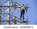 electric tower of  high voltage ... | Shutterstock . vector #693680872
