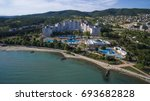 aerial view of sunny beach ... | Shutterstock . vector #693682828