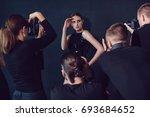 photographers paparazzi take... | Shutterstock . vector #693684652