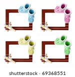 Set of frames with colorful knitted booties and baby rattle isolated on white background - stock photo