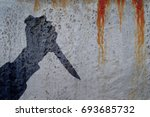 silhouette of human hand with... | Shutterstock . vector #693685732