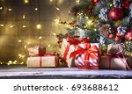 rustic holiday background with... | Shutterstock . vector #693688612