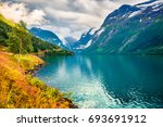 sunny summer view of lovatnet... | Shutterstock . vector #693691912