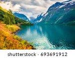 sunny summer view of lovatnet... | Shutterstock . vector #693691912