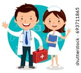doctor and nurse. doctor... | Shutterstock .eps vector #693711865