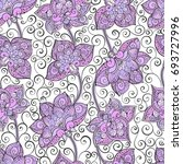 seamless pattern with lilac... | Shutterstock . vector #693727996