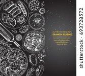 spanish cuisine top view frame. ... | Shutterstock .eps vector #693728572