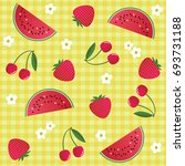 colorful bright fruit pattern... | Shutterstock .eps vector #693731188