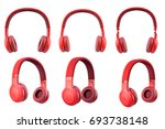 six red headphone isolate on... | Shutterstock . vector #693738148