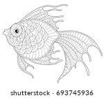 golden fish. adult antistress... | Shutterstock . vector #693745936