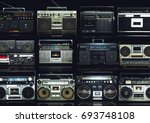vintage wall of radio boombox... | Shutterstock . vector #693748108