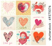 greeting cards with heart | Shutterstock .eps vector #69375076