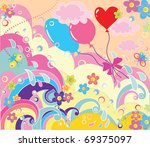 colorful greeting poster | Shutterstock .eps vector #69375097