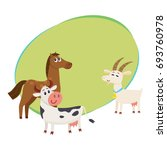 farm horse  cow and goat ... | Shutterstock .eps vector #693760978