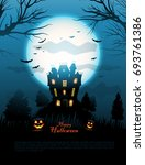 blue halloween haunted house... | Shutterstock .eps vector #693761386