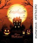 orange halloween haunted house... | Shutterstock .eps vector #693761392