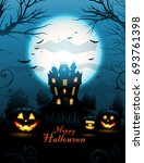 halloween haunted house... | Shutterstock .eps vector #693761398