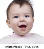 the small child on a white...   Shutterstock . vector #69376345