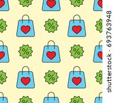 shopping bags with heart and... | Shutterstock .eps vector #693763948