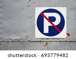 no parking signage in blue... | Shutterstock . vector #693779482