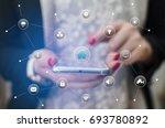 girl hand holding phone... | Shutterstock . vector #693780892