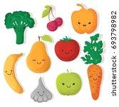 cartoon funny fruits and...