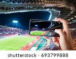 hands use smartphones record... | Shutterstock . vector #693799888