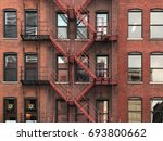 fire escape stairs on red brick ... | Shutterstock . vector #693800662