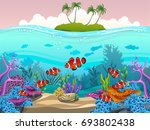 illustration of fish and coral... | Shutterstock .eps vector #693802438