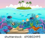 illustration of fish and coral... | Shutterstock .eps vector #693802495