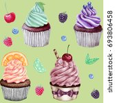 hand drawn pattern of cupcakes.  | Shutterstock . vector #693806458