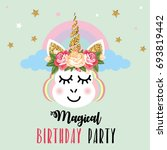 birthday party invitation with... | Shutterstock . vector #693819442