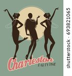 silhouettes of three flapper... | Shutterstock .eps vector #693821065