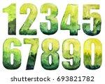 watercolor numbers green color... | Shutterstock . vector #693821782