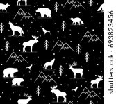 seamless pattern with wild...   Shutterstock .eps vector #693823456